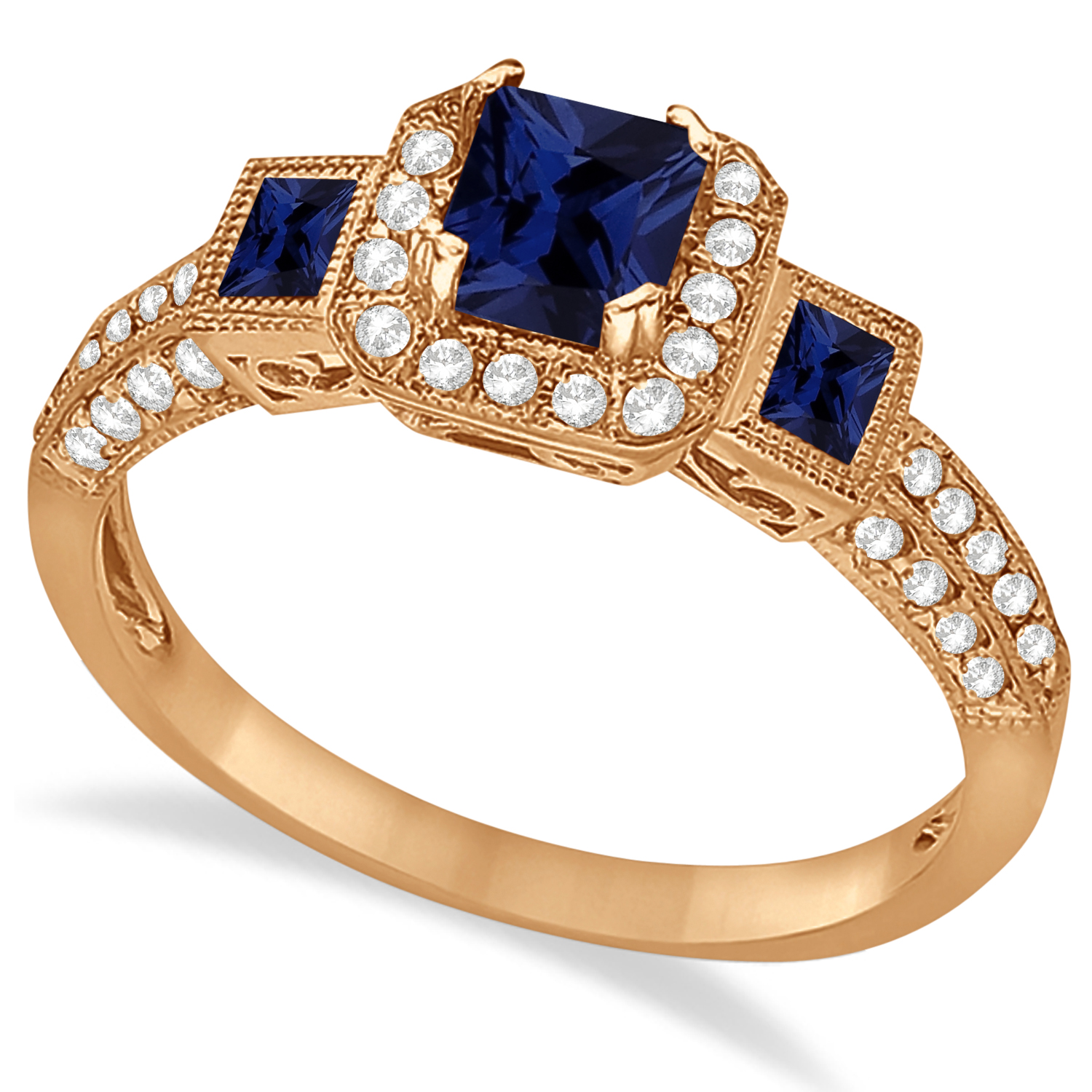 Blue Sapphire and Diamond Engagement Ring in 14k Rose Gold (1.35ctw)
