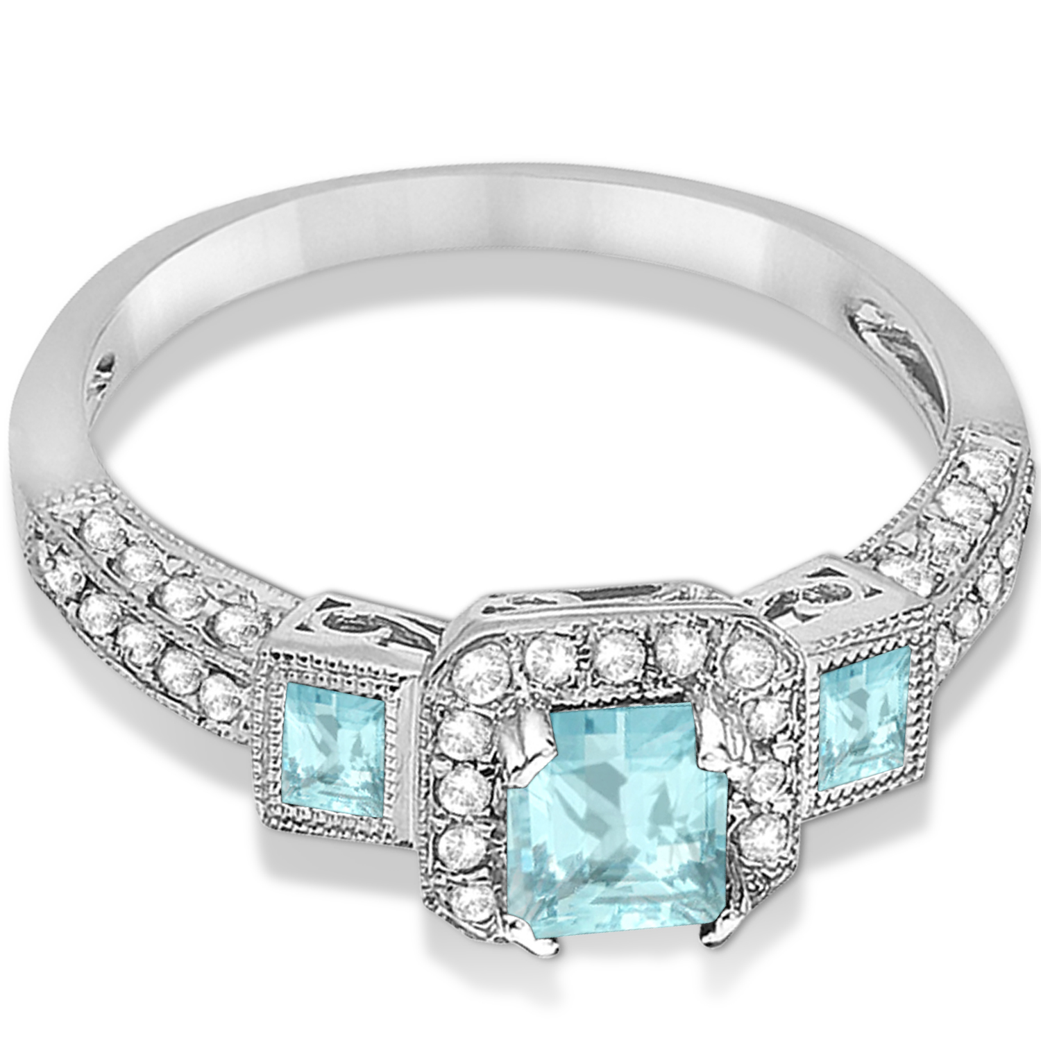 Aquamarine & Diamond Engagement Ring in 14k White Gold (1.35ctw)