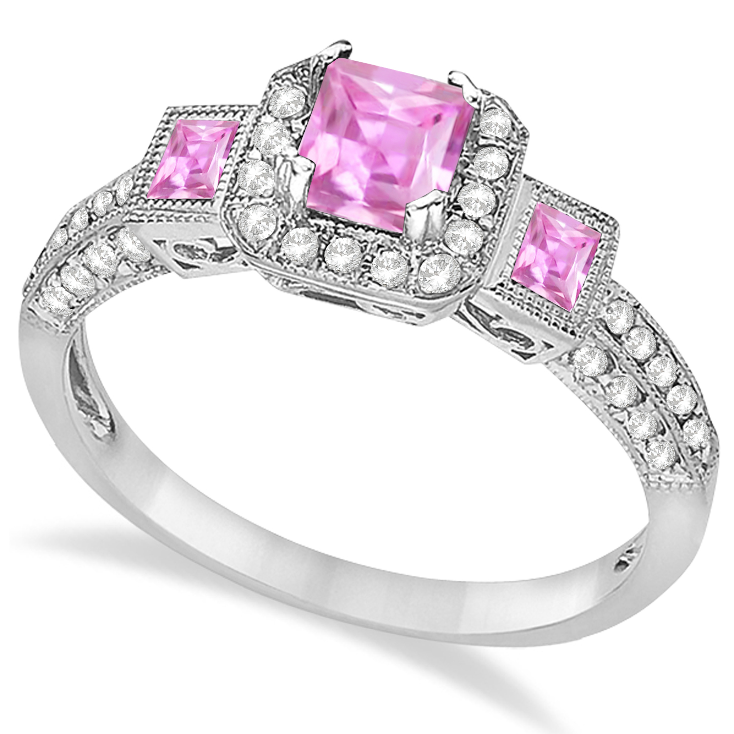Pink Sapphire and Diamond Engagement Ring in 14k White Gold (1.35ctw)