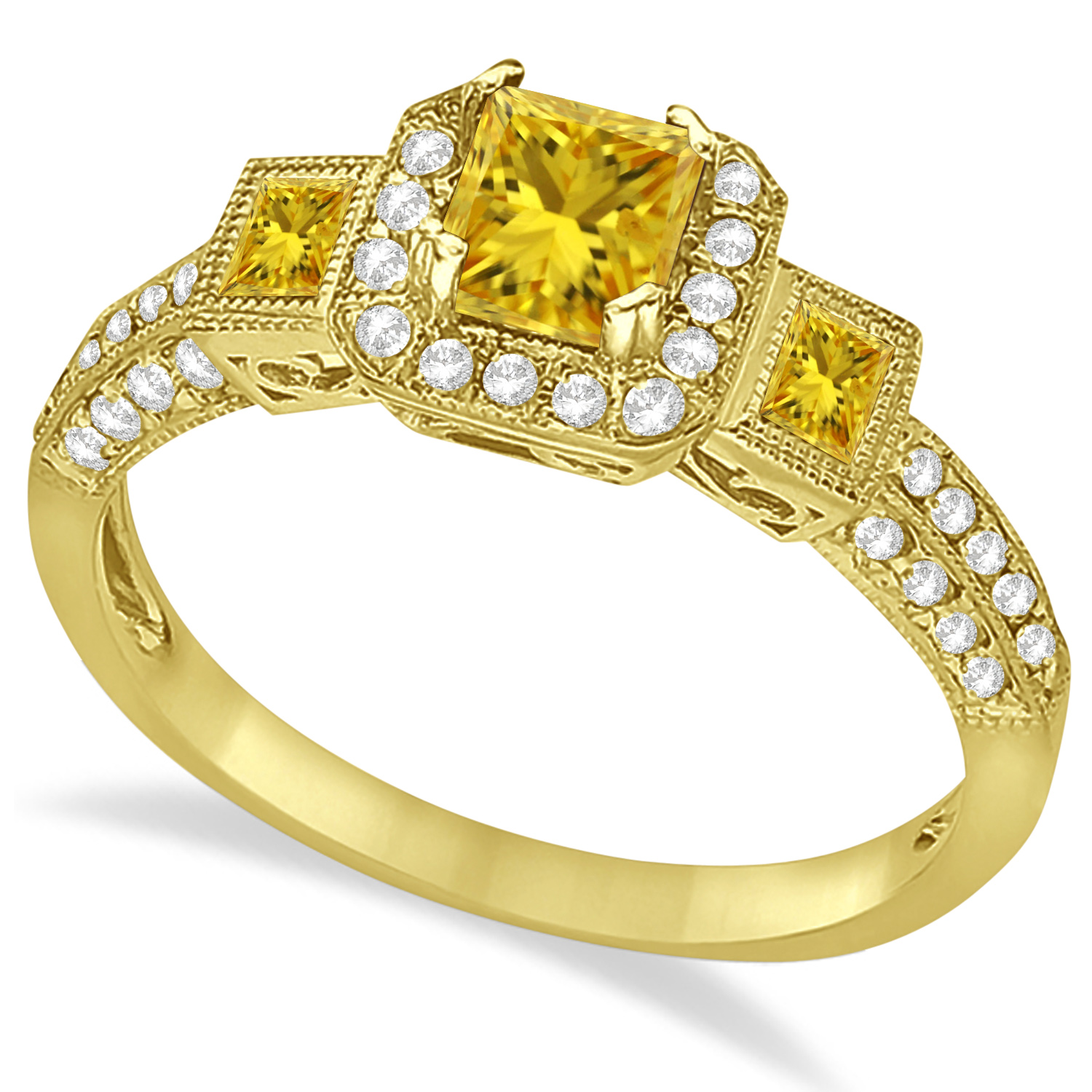 Yellow Sapphire and Diamond Engagement Ring in 14k Yellow Gold (1.35ctw)