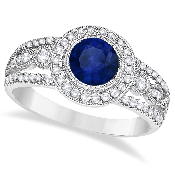Allurez Vintage Blue Sapphire and Diamond Ring 14k White ...