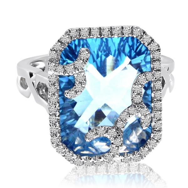 Cushion Cut Blue Topaz & Diamond Halo Ring in 14k White Gold (11.92ct)