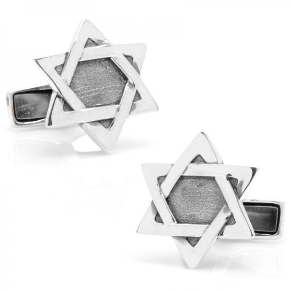 Star of David Engravable Cufflinks in Sterling Silver