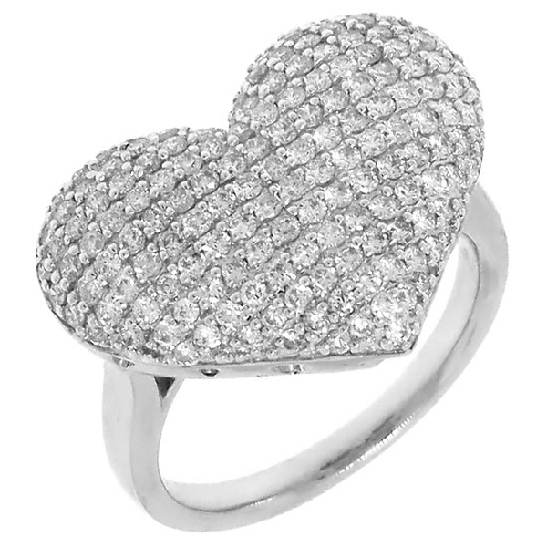 1.35ct 14k White Gold Diamond Pave Heart Ring