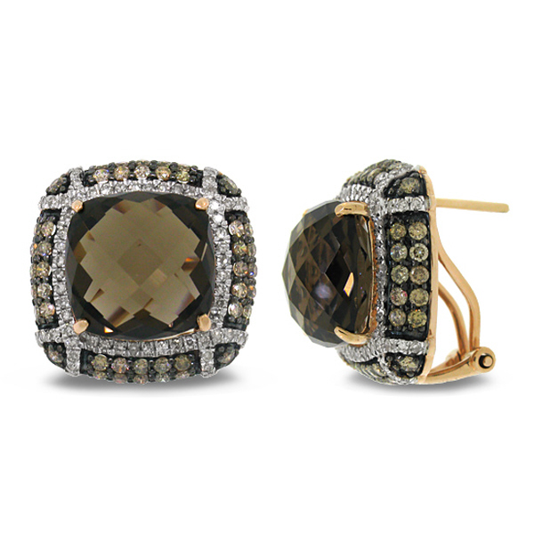 Allurez 1.97ct White and Champagne Diamond and 15.63 Smokey Topaz 14k Rose Gold Earrings at Sears.com