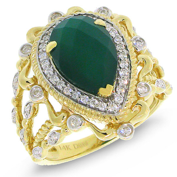 0.35ct Diamond & 2.93ct Green Agate 14k Two-tone Gold Ring