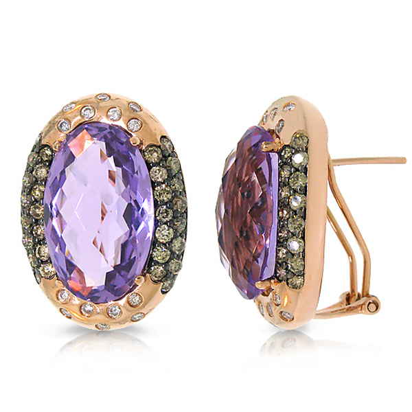 Allurez 1.78ct White and Champagne Diamond and 18.57ct Amethyst 14k Rose Gold Earrings at Sears.com