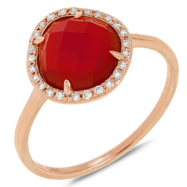 0.09ct Diamond & 1.95ct Red Agate 14k Rose Gold Ring