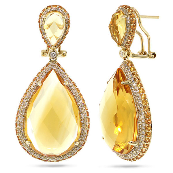 1.15ct Diamond & 43.35ct Citrine & Yellow Sapphire 14k Yellow Gold Earrings