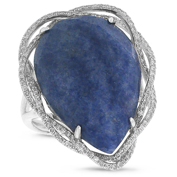 0.38ct Diamond & 15.77ct Blue Aventurine 14k White Gold Ring