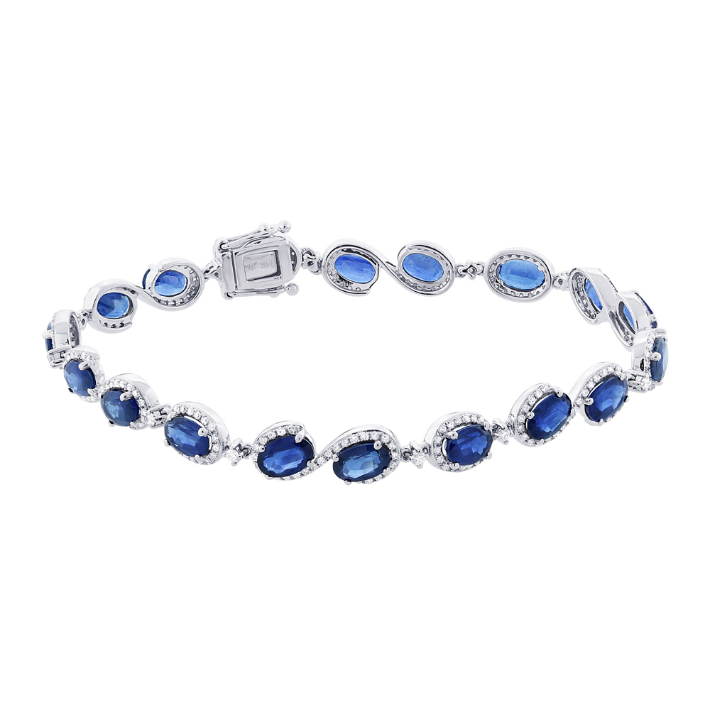 1.00ct Diamond & 11.17ct Blue Sapphire 14k White Gold Bracelet