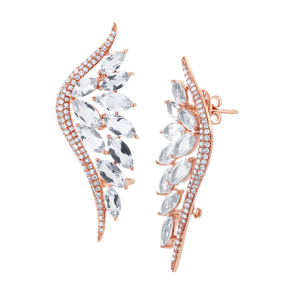 0.75ct Diamond & 5.65ct White Topaz 14k Rose Gold Ear Crawler Earrings