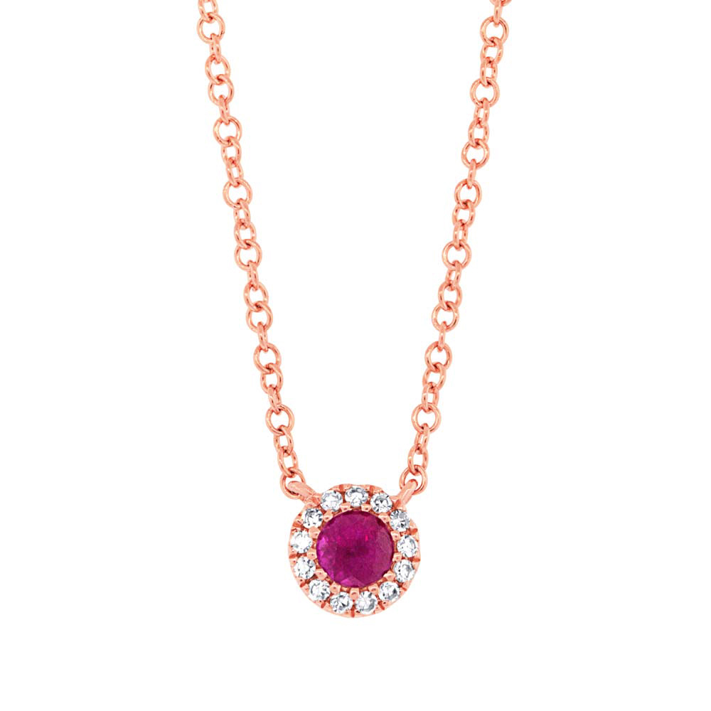 Image of 0.04ct Diamond and 0.14ct Ruby 14k Rose Gold Diamond Necklace