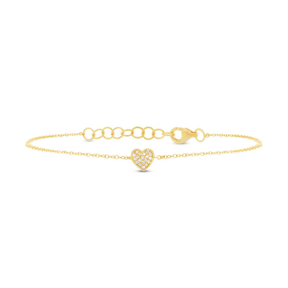 Image of 0.04ct 14k Yellow Gold Diamond Pave Heart Bracelet