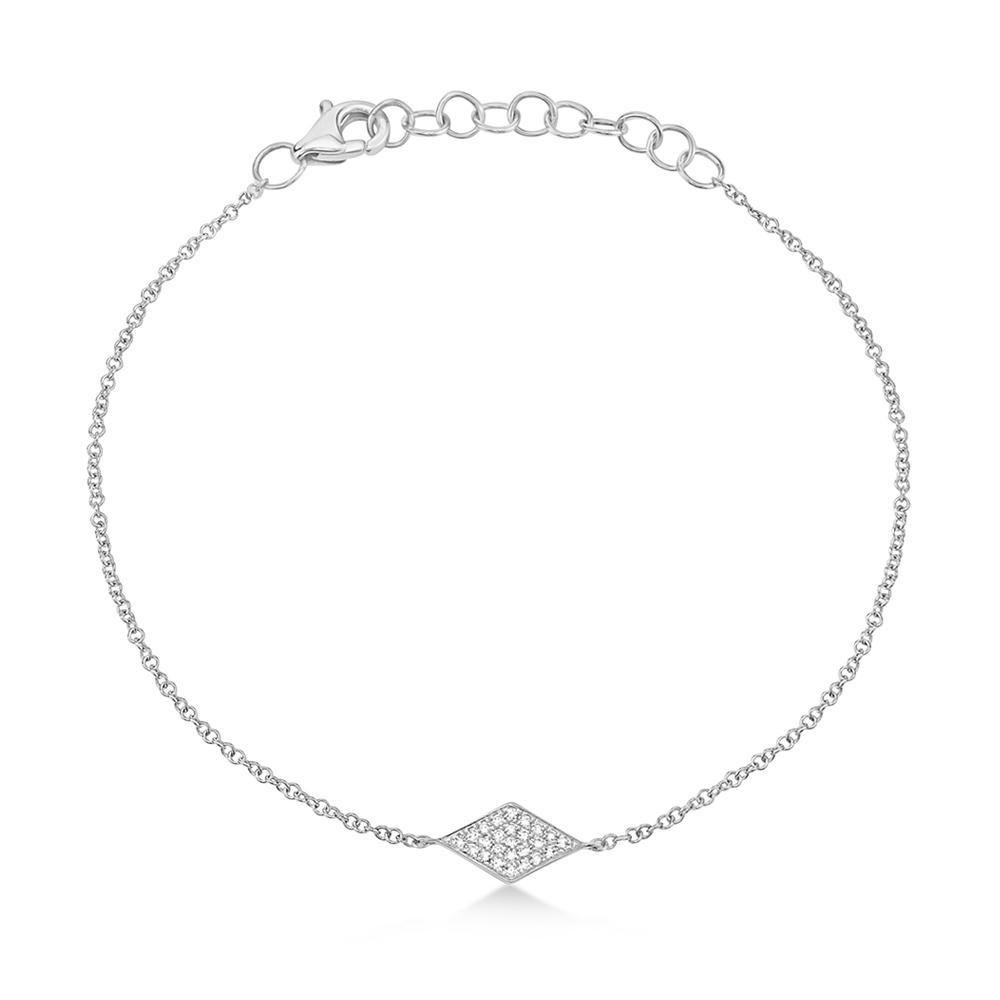 Image of 0.06ct 14k White Gold Diamond Pave Diamond Bracelet