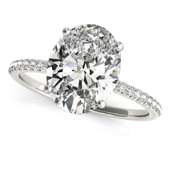 Diamond Accented Oval Shape Engagement Ring Platinum (3.00ct)
