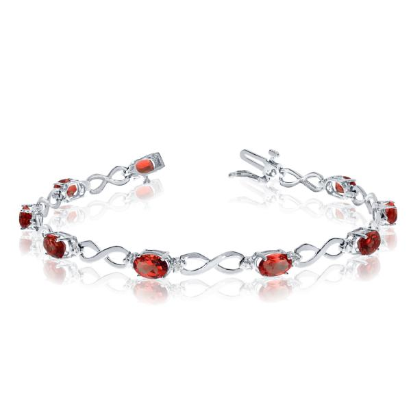 Oval Garnet and Diamond Infinity Bracelet in 14k White Gold (4.53ct)