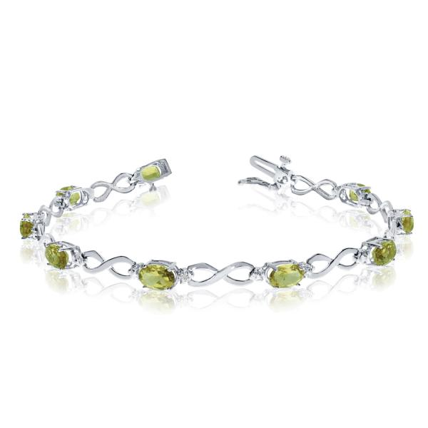 Oval Peridot and Diamond Infinity Bracelet in 14k White Gold (4.53ct)