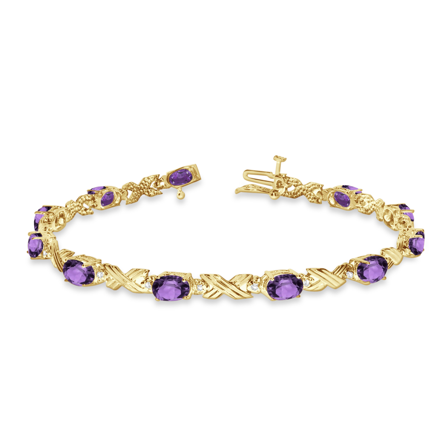 Amethyst and Diamond XOXO Link Bracelet 14k Yellow Gold (6.65ct)