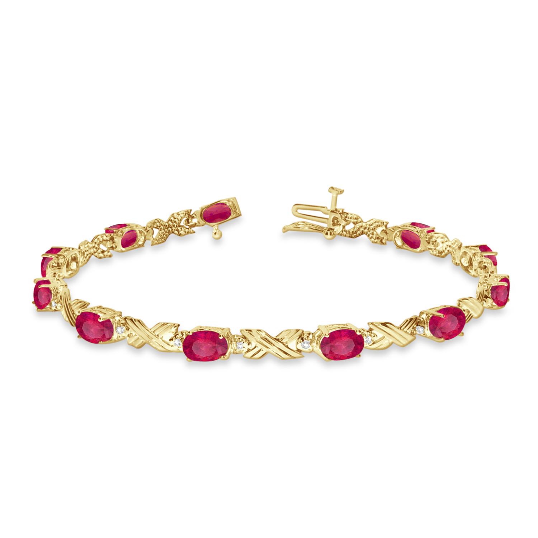 Allurez Ruby and Diamond XOXO Link Bracelet in 14k Yellow...