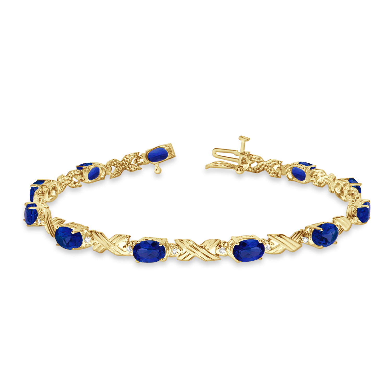 Blue Sapphire & Diamond XOXO Link Bracelet 14k Yellow Gold (6.65ct)