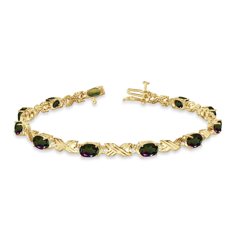 Mystic Topaz and Diamond XOXO Link Bracelet 14k Yellow Gold (6.65ct)
