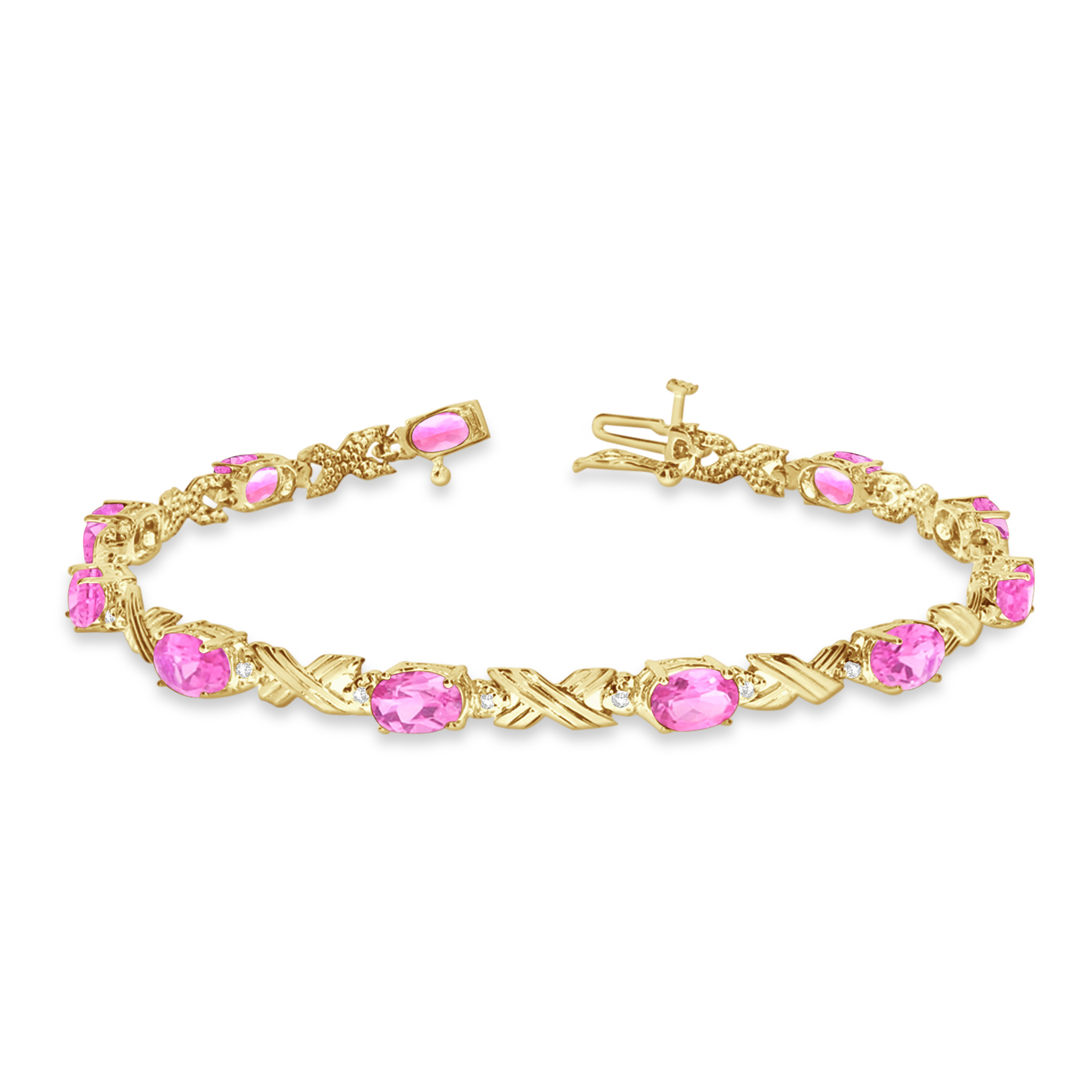 Pink Topaz and Diamond XOXO Link Bracelet 14k Yellow Gold (6.65ct)