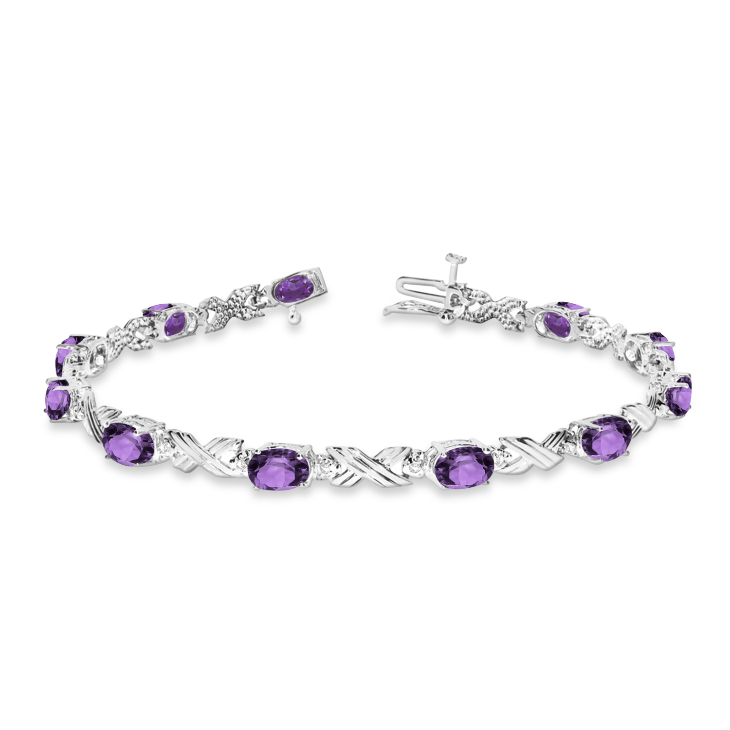Amethyst and Diamond XOXO Link Bracelet in 14k White Gold (6.65ct)