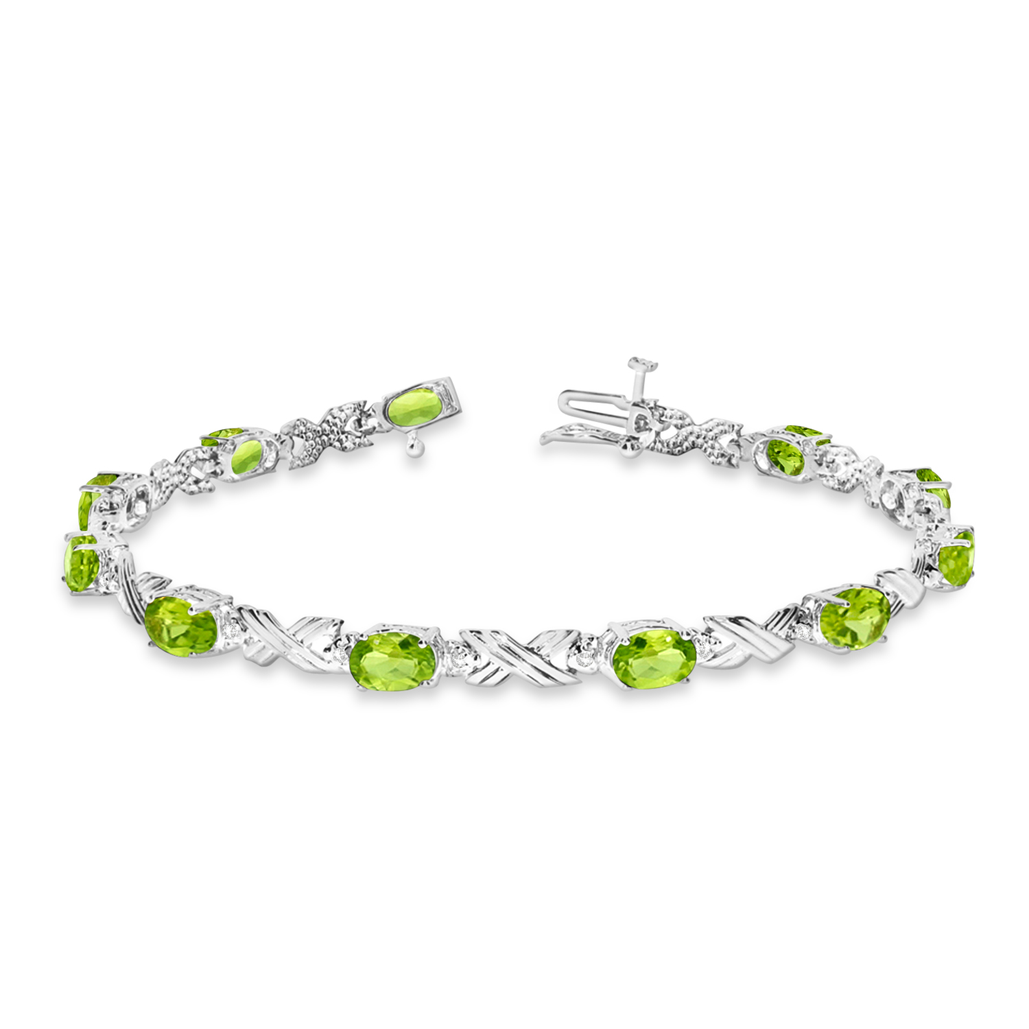 Peridot Diamond Xoxo Link Bracelet In 14k White Gold 6 65ct