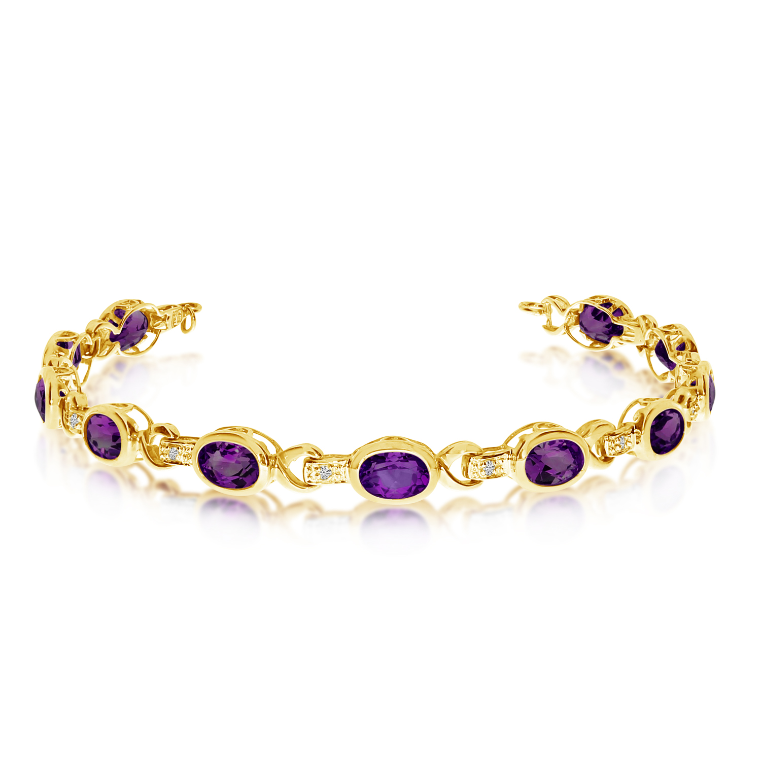 Oval Amethyst and Diamond Link Bracelet 14k Yellow Gold (9.62ctw)