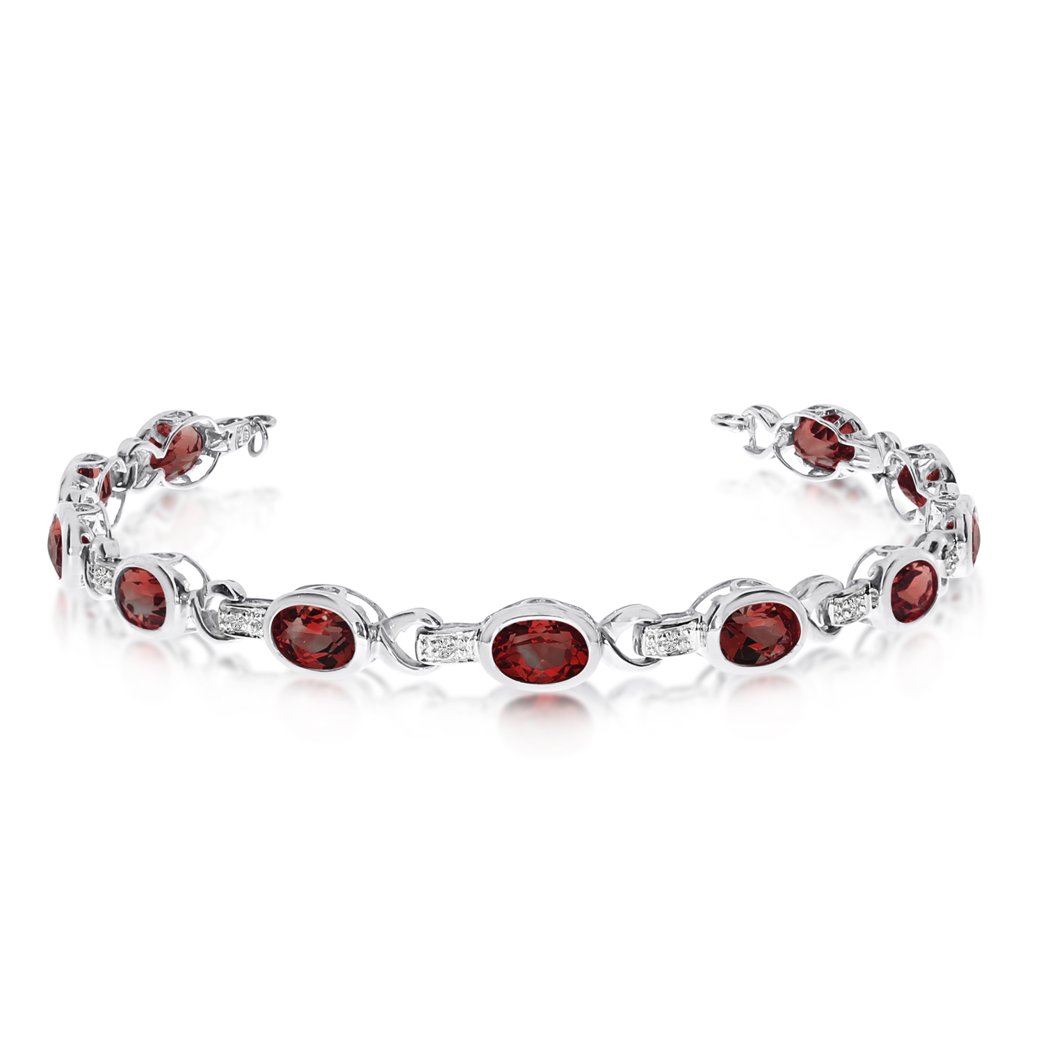 Oval Garnet and Diamond Link Bracelet 14k White Gold (9.62ctw)
