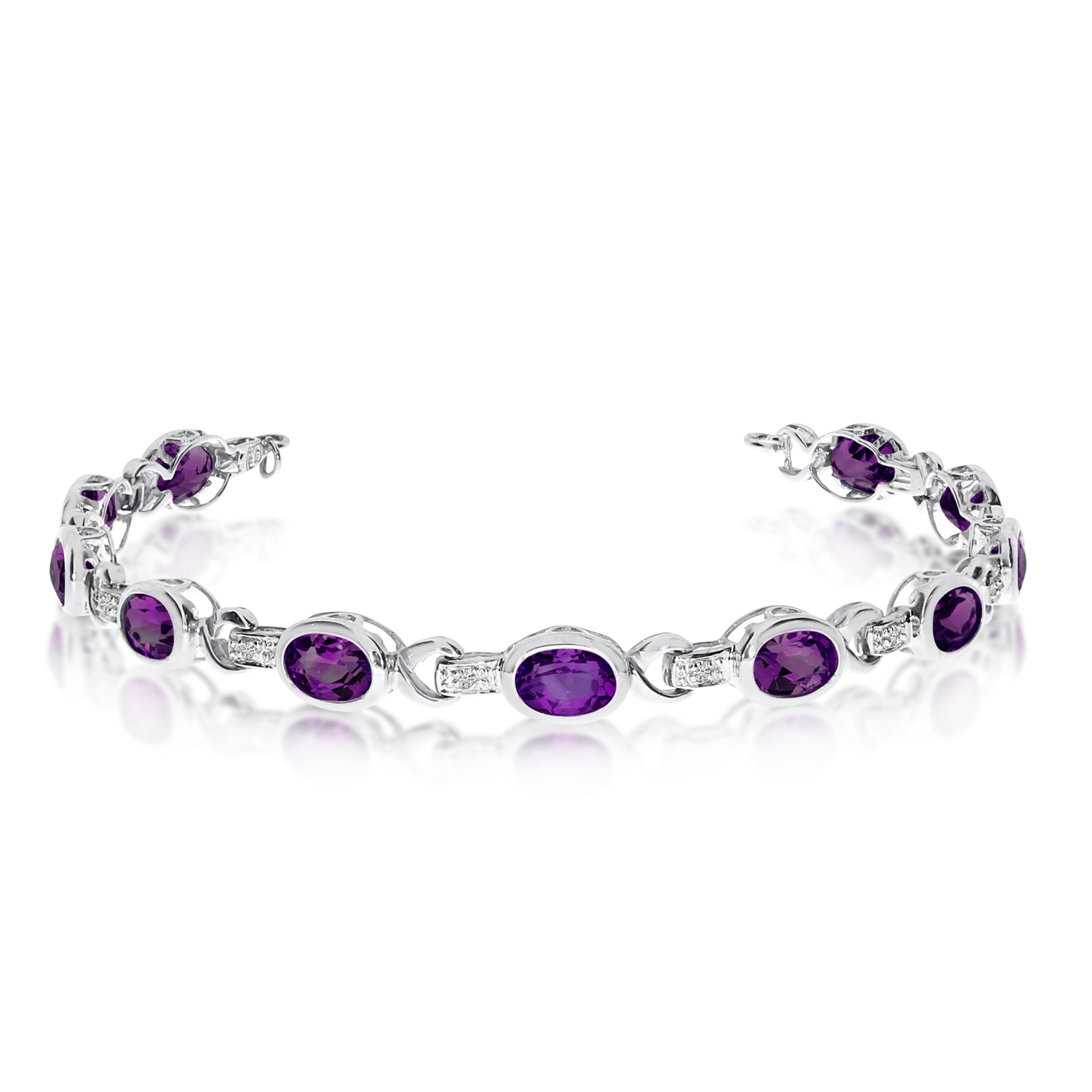 Oval Amethyst and Diamond Link Bracelet 14k White Gold (9.62ctw)