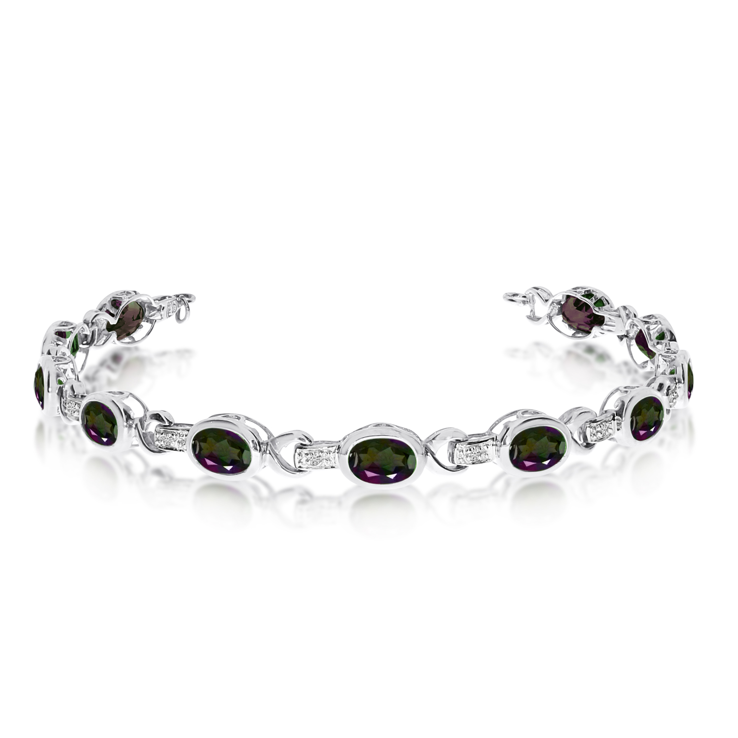 Oval Mystic Topaz and Diamond Link Bracelet 14k White Gold (9.62ctw)