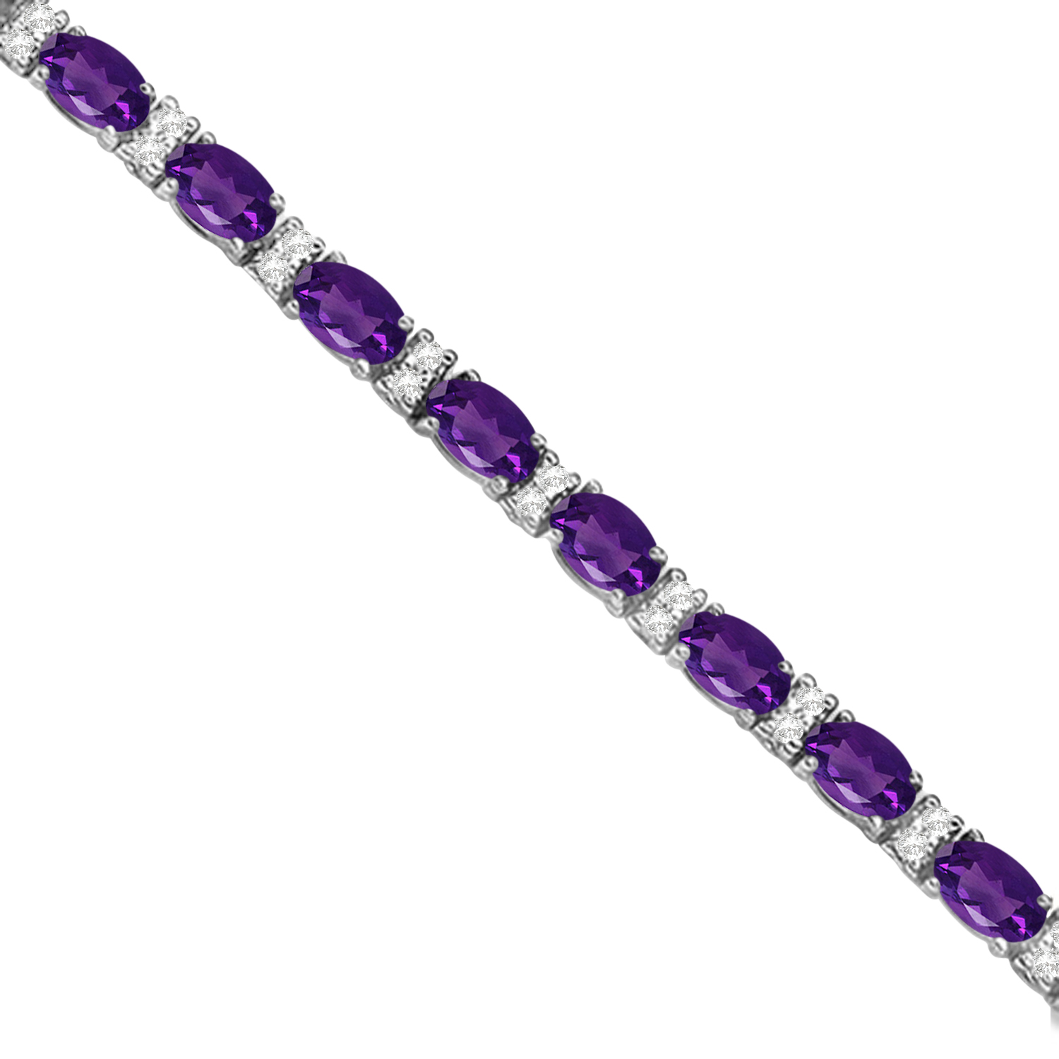 Diamond and Oval Cut Amethyst Tennis Bracelet 14k White Gold (9.25ct)