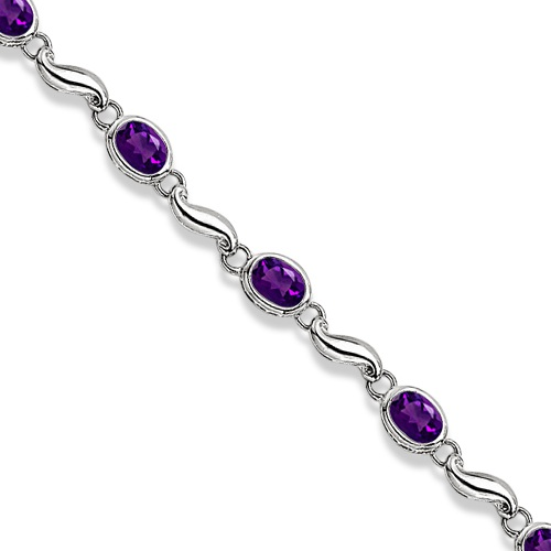 Bezel-Set Oval Amethyst Bracelet in 14K White Gold (7x5 mm)