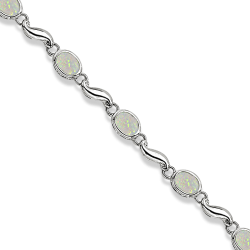 Bezel Set Oval Opal Bracelet In 14k White Gold 7x5 Mm