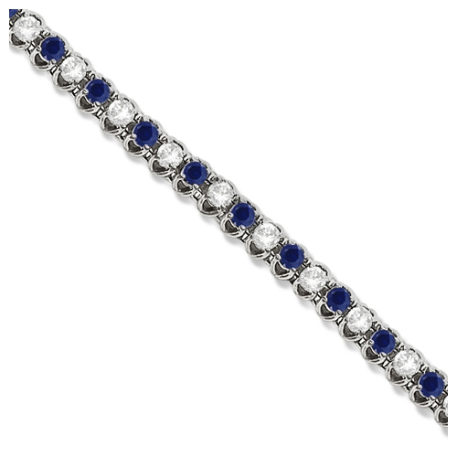 Allurez Round Blue Sapphire and Diamond Tennis Bracelet 14k White Gold (4.75ct) at Sears.com