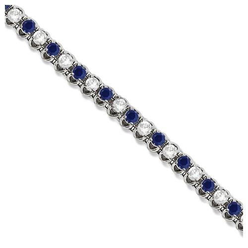 Allurez Round Blue Sapphire and Diamond Tennis Bracelet 1...