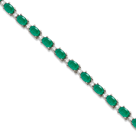 Allurez Emerald and Diamond Link Tennis Bracelet 14k White Gold (12.00ct) at Sears.com