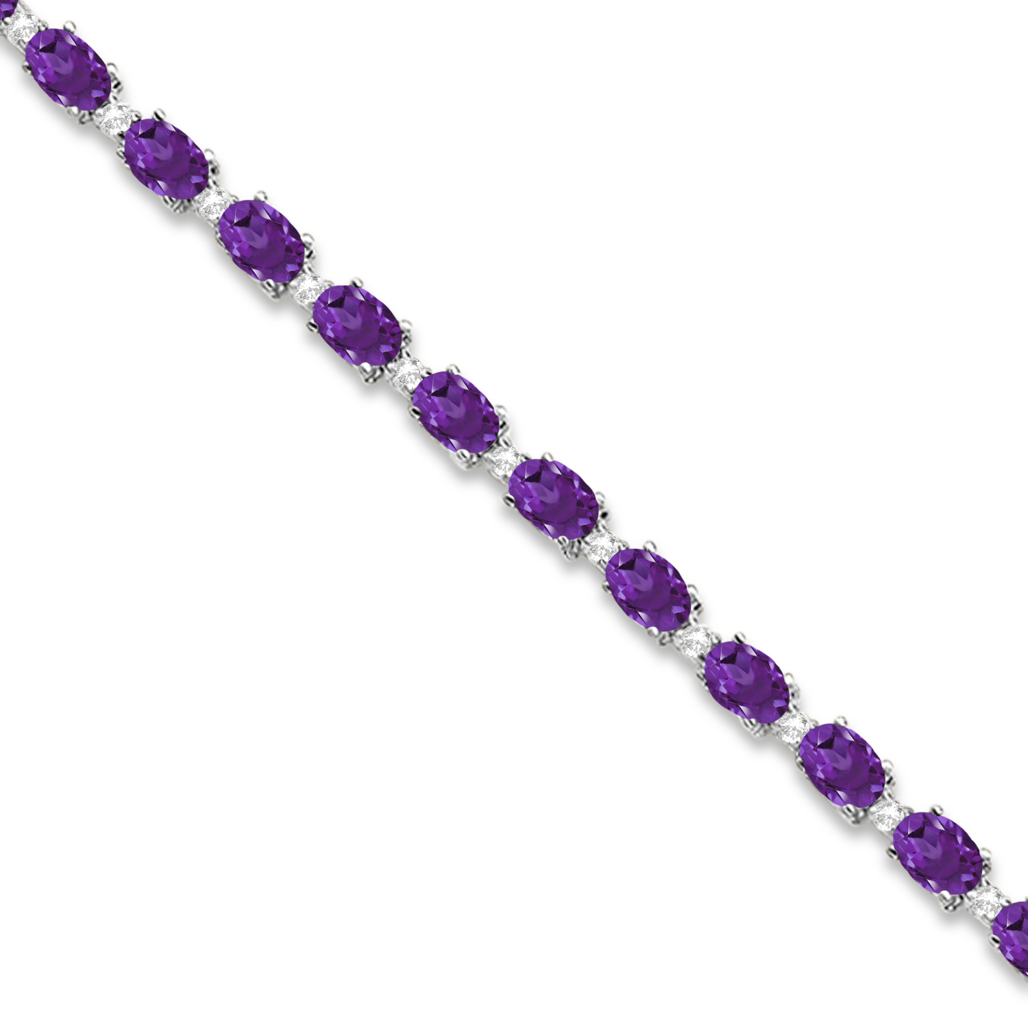 Amethyst and Diamond Tennis Bracelet 14k White Gold (12.00ct)