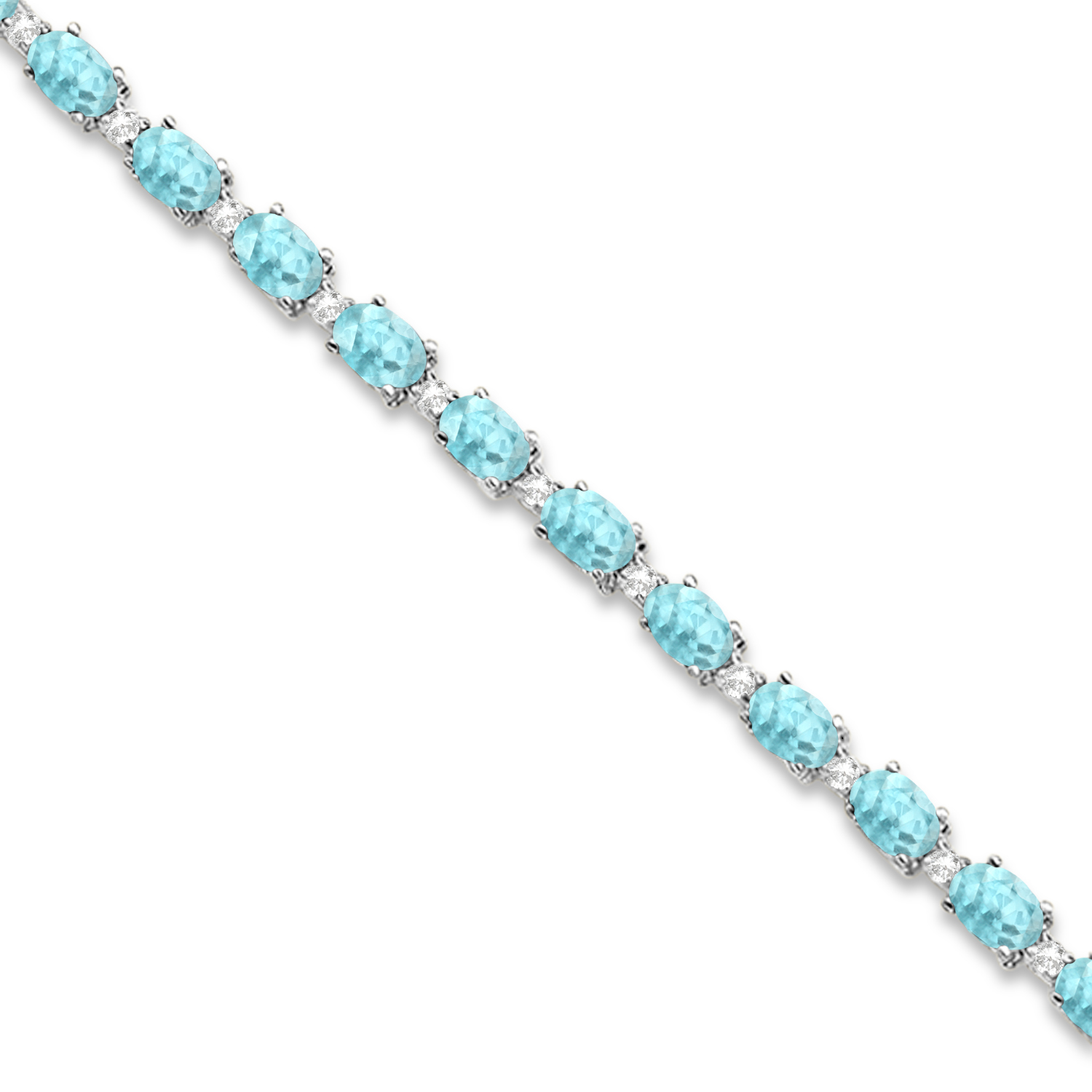 Aquamarine and Diamond Tennis Bracelet 14k White Gold (12.00ct)
