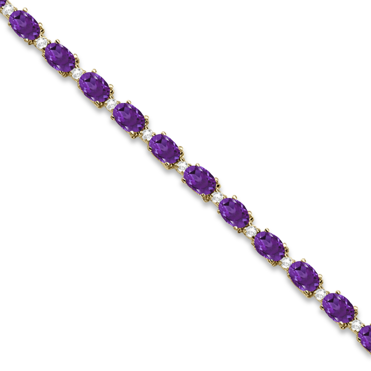 Amethyst and Diamond Tennis Bracelet 14k Yellow Gold (12.00ct)