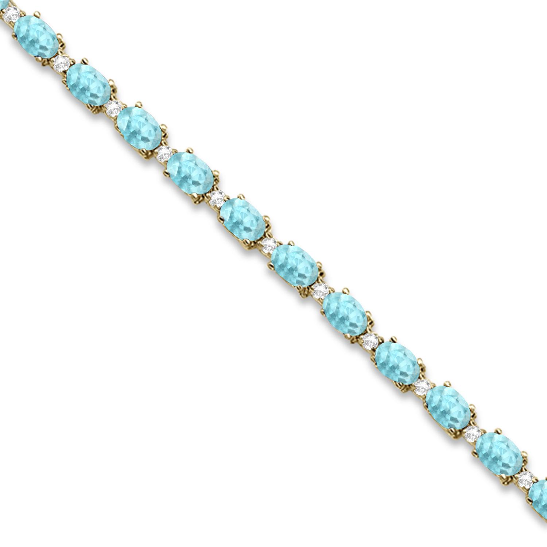 Aquamarine and Diamond Tennis Bracelet 14k Yellow Gold (12.00ct)