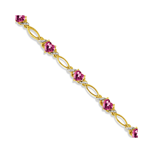 Heart Shape Pink Topaz and Diamond Link Bracelet 14k Yellow Gold (3.00ctw)