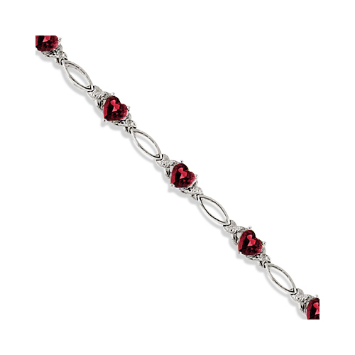 Heart Shaped Garnet and Diamond Link Bracelet 14k White Gold (3.00ctw)
