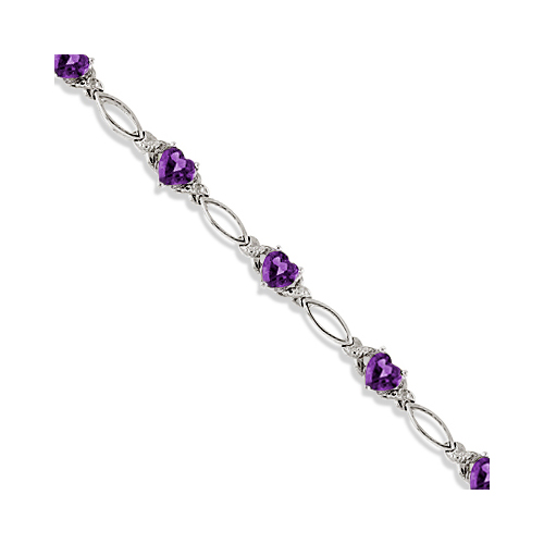 Heart Shaped Amethyst and Diamond Link Bracelet 14k White Gold (3.00ctw)