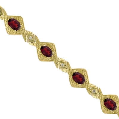 Antique Style Garnet and Diamond Link Bracelet 14k Yellow Gold (5.63ctw)