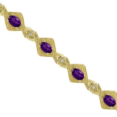 Antique Style Amethyst and Diamond Link Bracelet 14k Yellow Gold (5.63ctw)