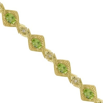 Antique Style Peridot and Diamond Link Bracelet 14k Yellow Gold (5.63ctw)