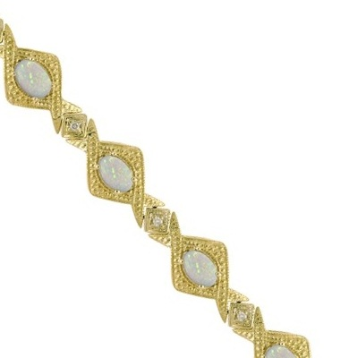 Antique Style Opal and Diamond Link Bracelet 14k Yellow Gold (5.63ctw)